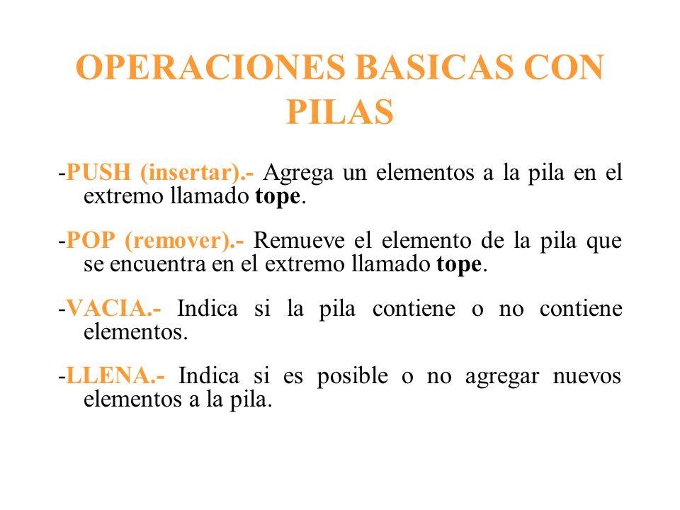 OPERACIONES BASICAS CON PILAS
