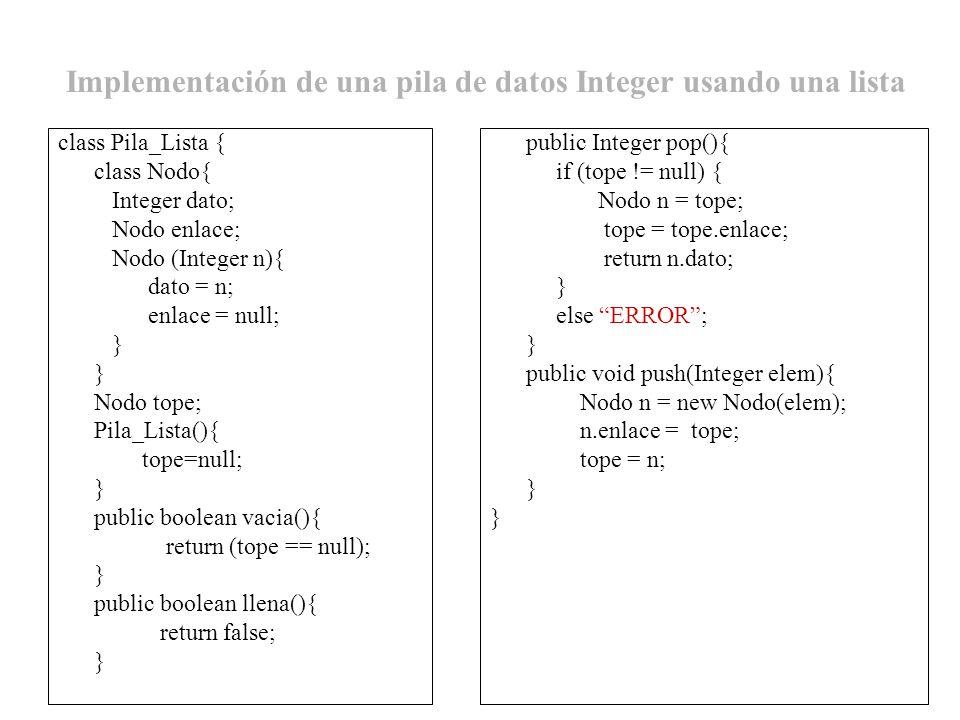 Implementación de una pila de datos Integer usando una lista