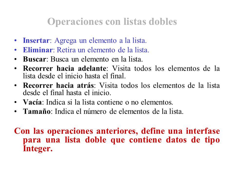 Operaciones con listas dobles