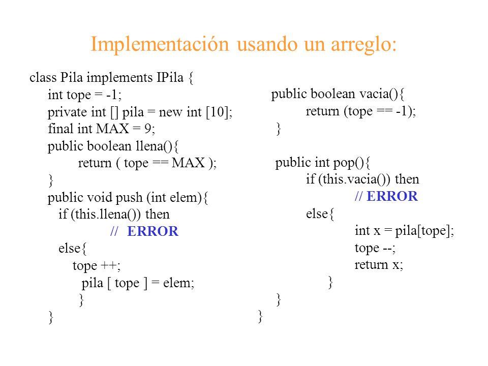 Implementación usando un arreglo: