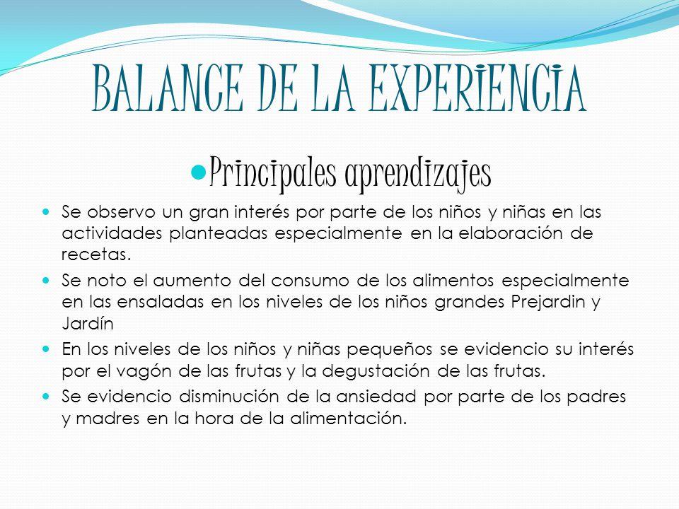 BALANCE DE LA EXPERIENCIA