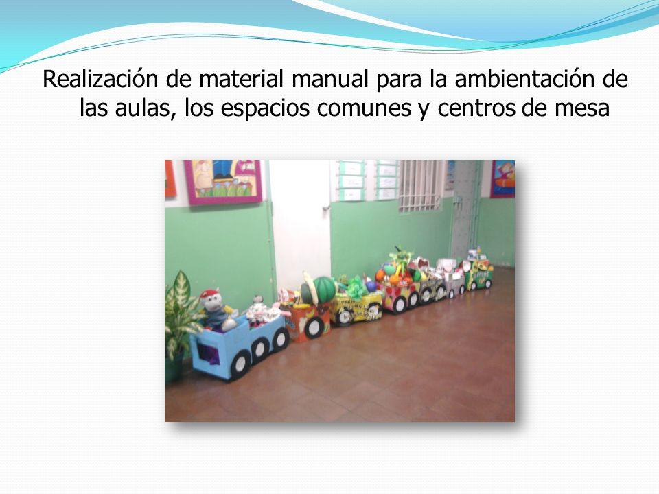 Realización de material manual para la ambientación de las aulas, los espacios comunes y centros de mesa