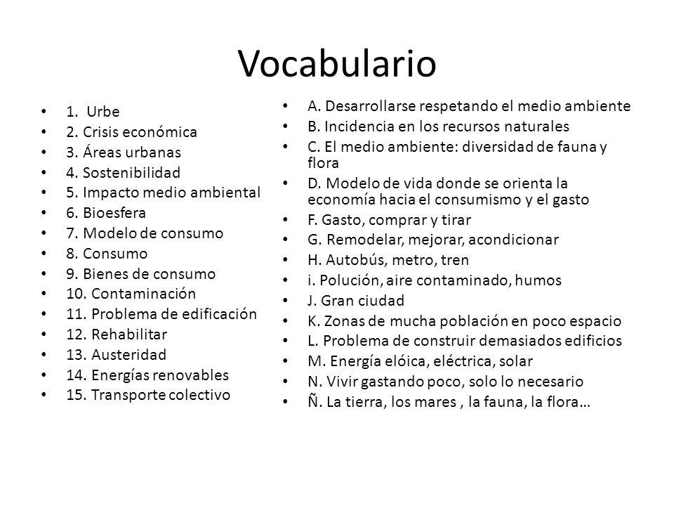 Vocabulario A. Desarrollarse respetando el medio ambiente 1. Urbe