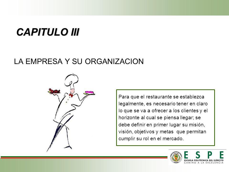 CAPITULO III LA EMPRESA Y SU ORGANIZACION