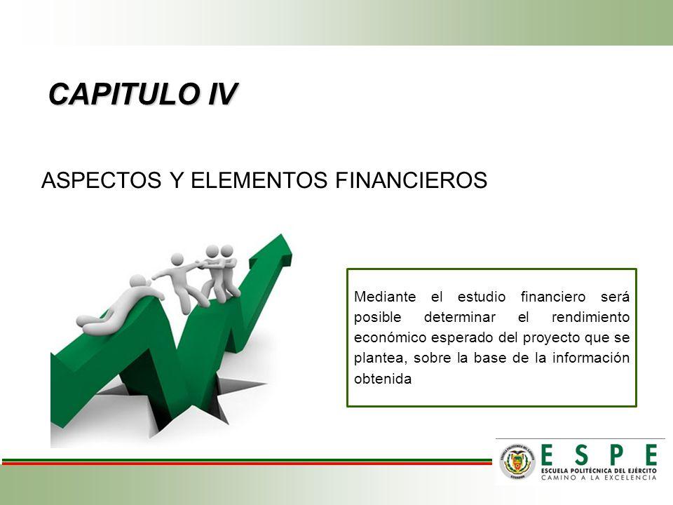 CAPITULO IV ASPECTOS Y ELEMENTOS FINANCIEROS
