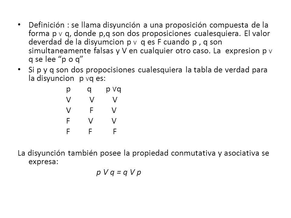 Definición : se llama disyunción a una proposición compuesta de la forma p Ѵ q, donde p,q son dos proposiciones cualesquiera. El valor deverdad de la disyumcion p Ѵ q es F cuando p , q son simultaneamente falsas y V en cualquier otro caso. La expresion p Ѵ q se lee p o q