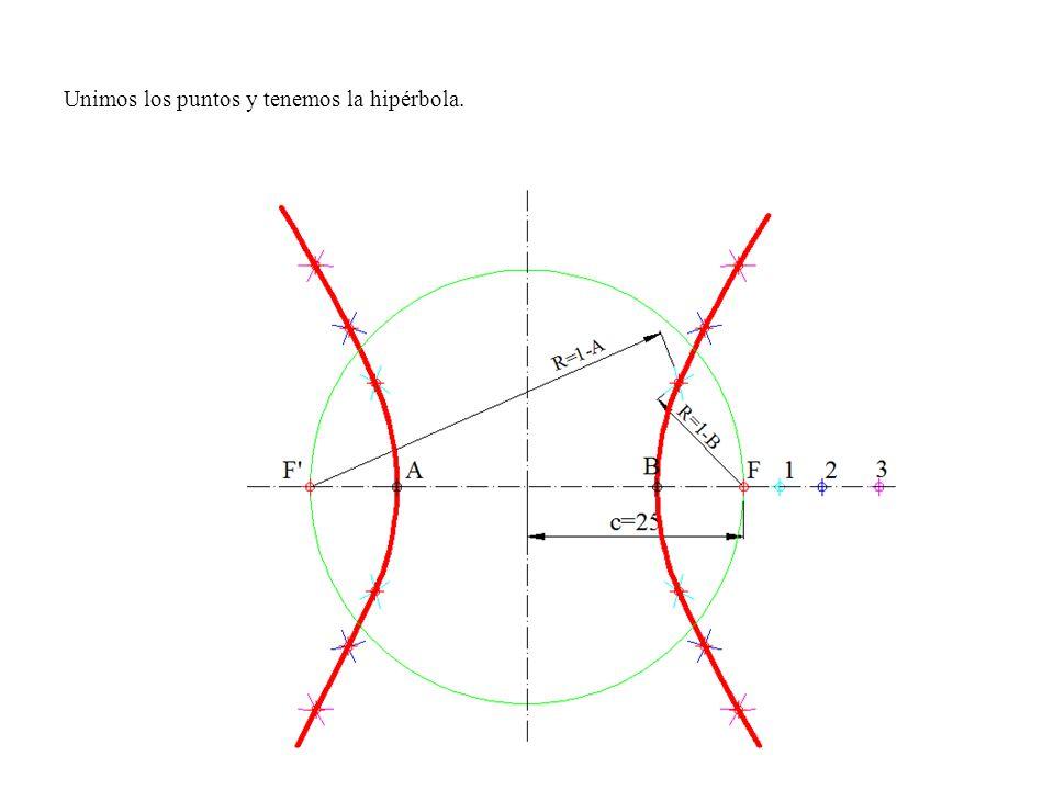 Unimos los puntos y tenemos la hipérbola.