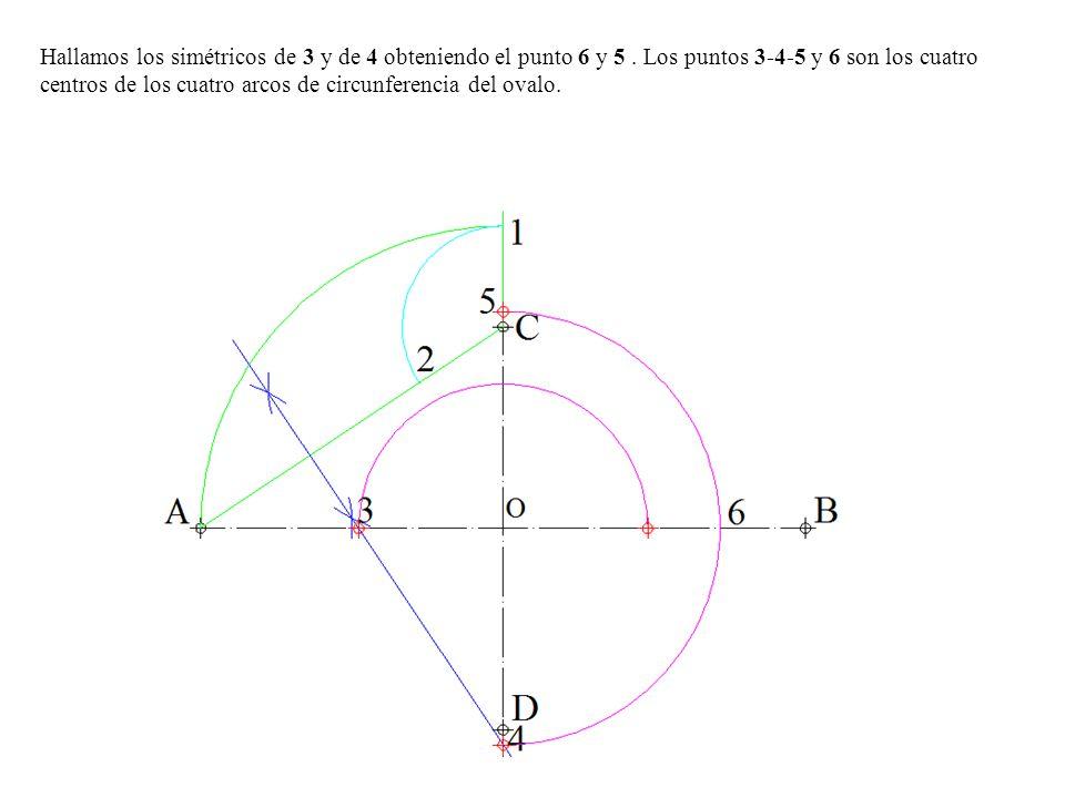 Hallamos los simétricos de 3 y de 4 obteniendo el punto 6 y 5