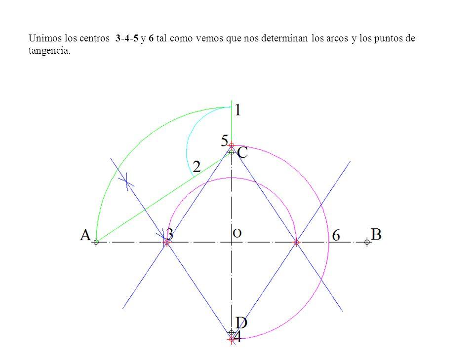 Unimos los centros 3-4-5 y 6 tal como vemos que nos determinan los arcos y los puntos de tangencia.