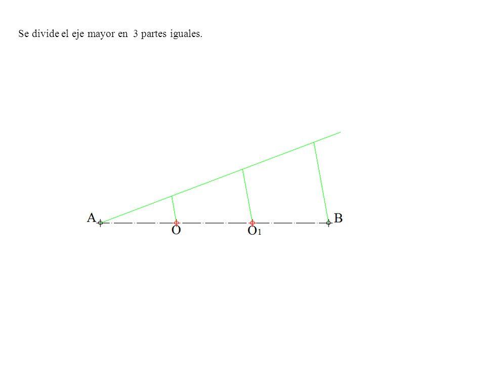 Se divide el eje mayor en 3 partes iguales.