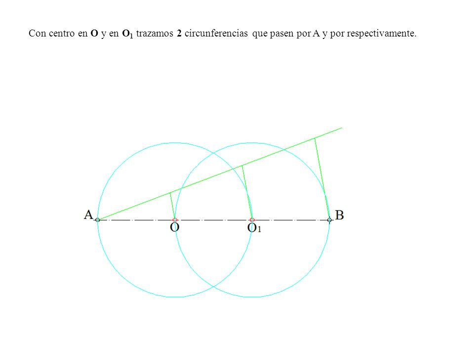 Con centro en O y en O1 trazamos 2 circunferencias que pasen por A y por respectivamente.