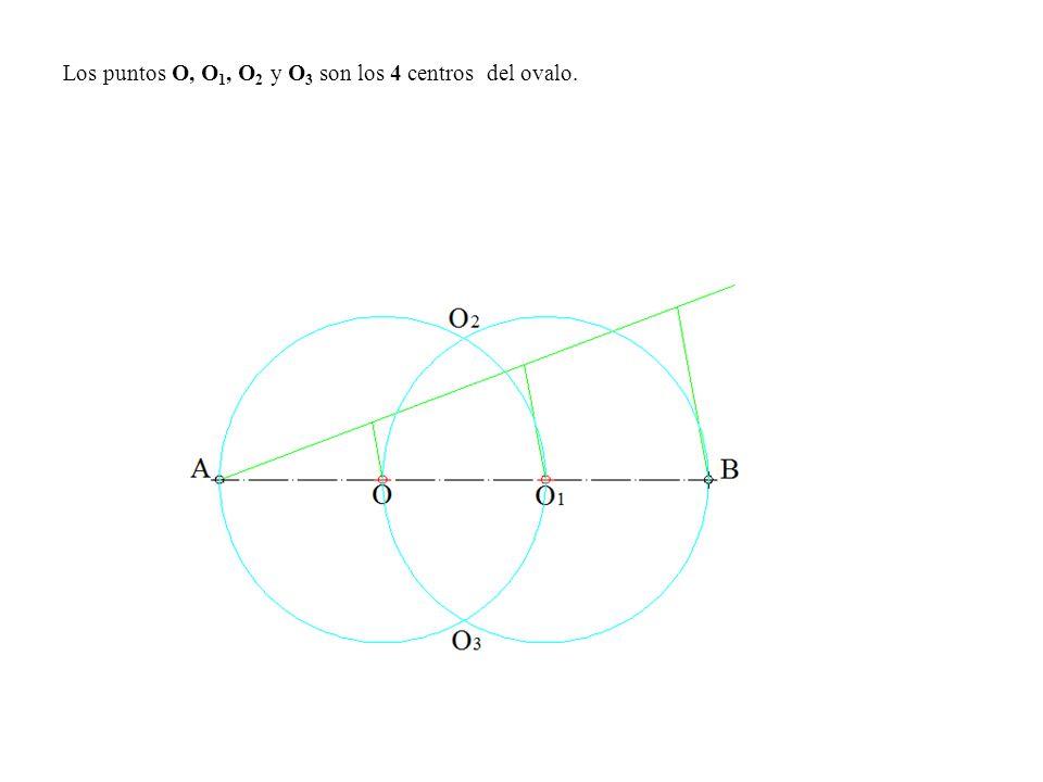 Los puntos O, O1, O2 y O3 son los 4 centros del ovalo.