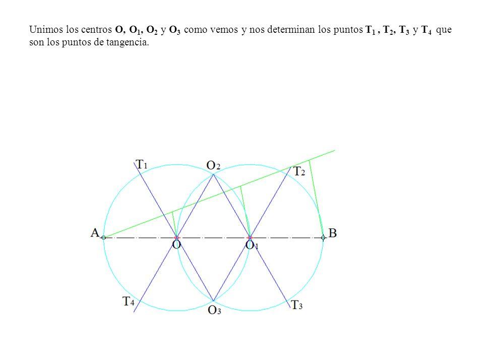Unimos los centros O, O1, O2 y O3 como vemos y nos determinan los puntos T1 , T2, T3 y T4 que son los puntos de tangencia.