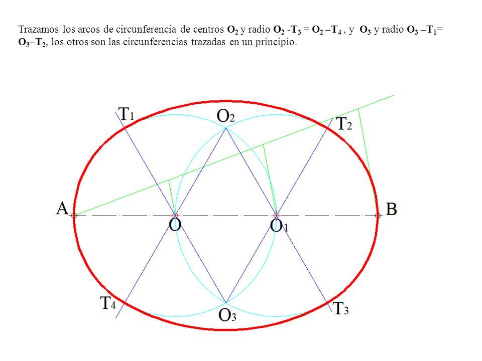 Trazamos los arcos de circunferencia de centros O2 y radio O2 -T3 = O2 –T4 , y O3 y radio O3 –T1= O3–T2, los otros son las circunferencias trazadas en un principio.