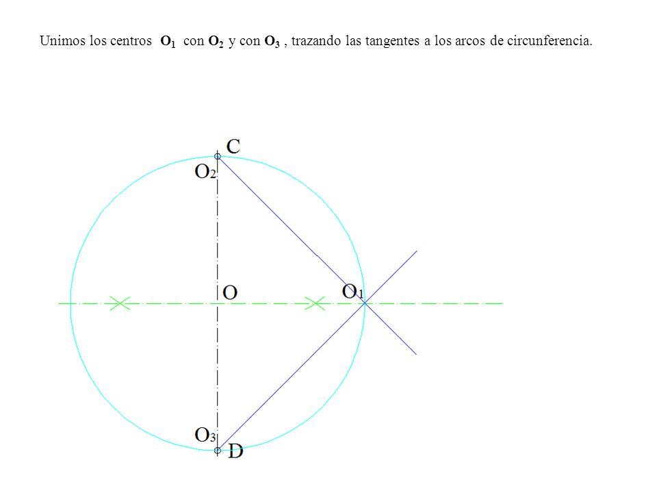 Unimos los centros O1 con O2 y con O3 , trazando las tangentes a los arcos de circunferencia.