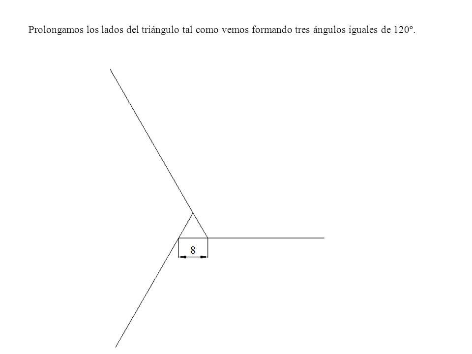 Prolongamos los lados del triángulo tal como vemos formando tres ángulos iguales de 120º.