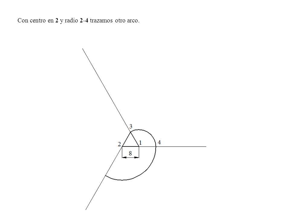 Con centro en 2 y radio 2-4 trazamos otro arco.