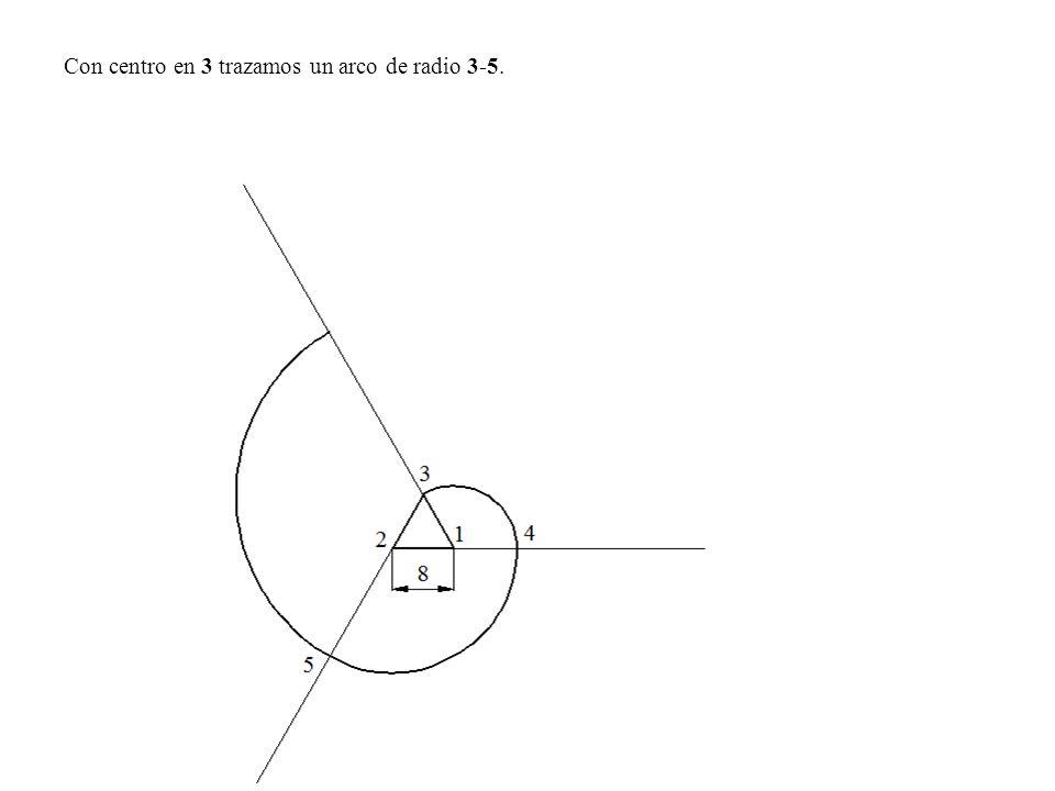 Con centro en 3 trazamos un arco de radio 3-5.