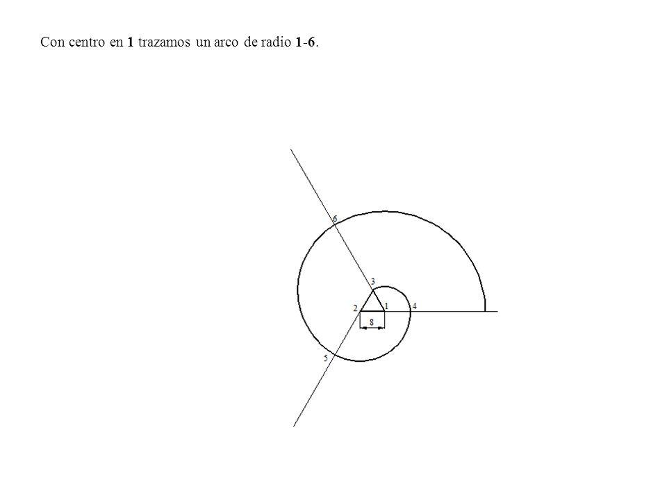 Con centro en 1 trazamos un arco de radio 1-6.