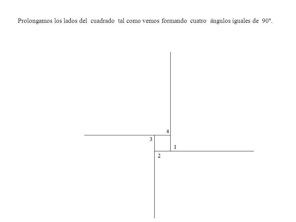 Prolongamos los lados del cuadrado tal como vemos formando cuatro ángulos iguales de 90º.