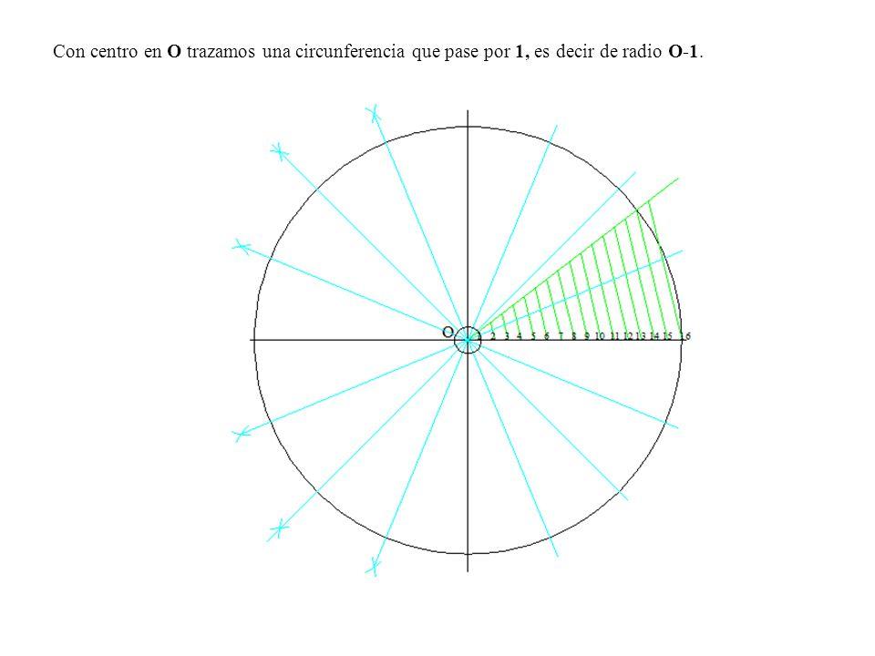 Con centro en O trazamos una circunferencia que pase por 1, es decir de radio O-1.