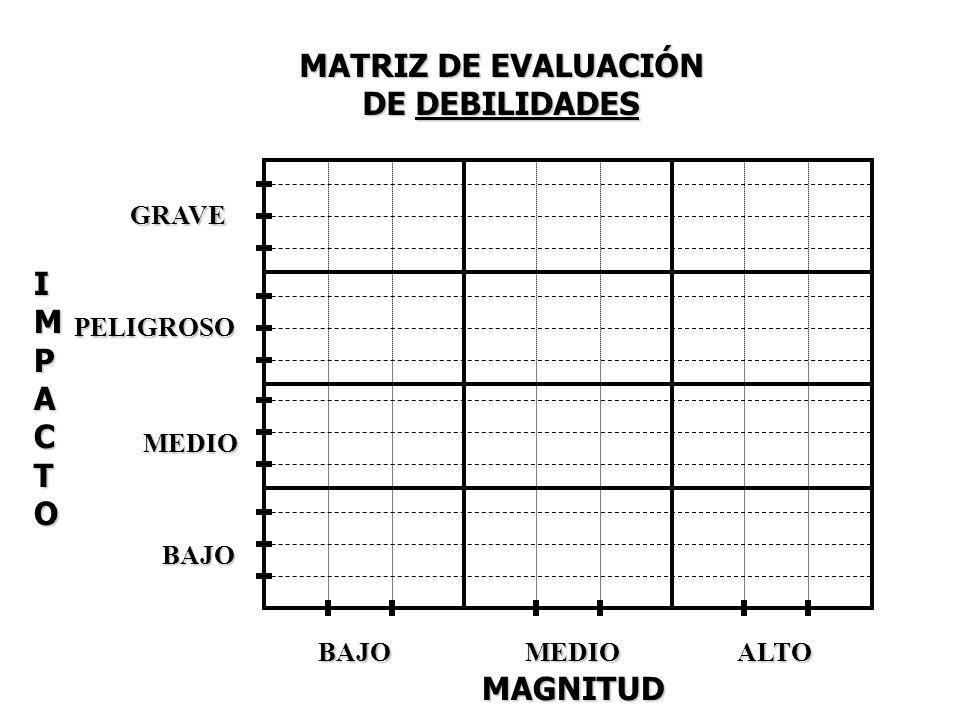 MATRIZ DE EVALUACIÓN DE DEBILIDADES