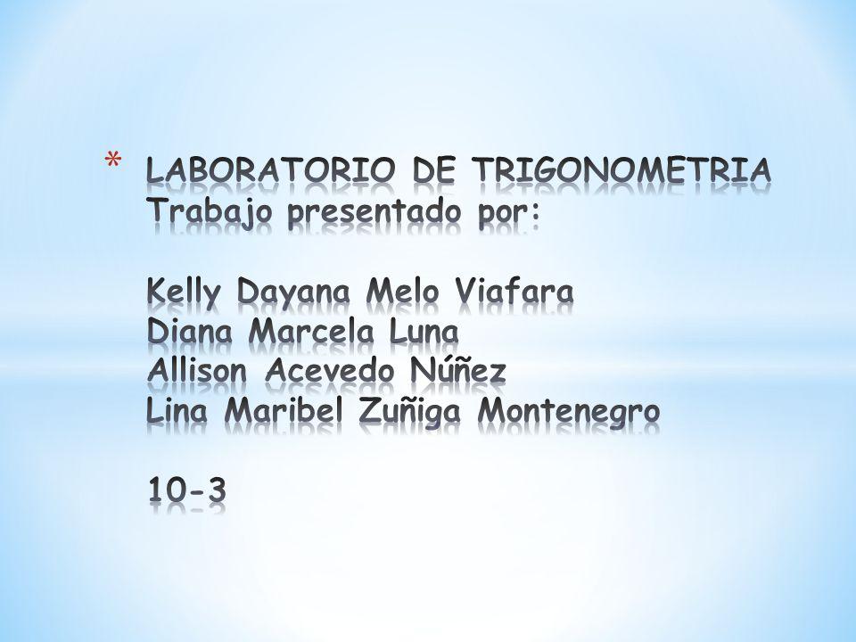 LABORATORIO DE TRIGONOMETRIA Trabajo presentado por: Kelly Dayana Melo Viafara Diana Marcela Luna Allison Acevedo Núñez Lina Maribel Zuñiga Montenegro 10-3