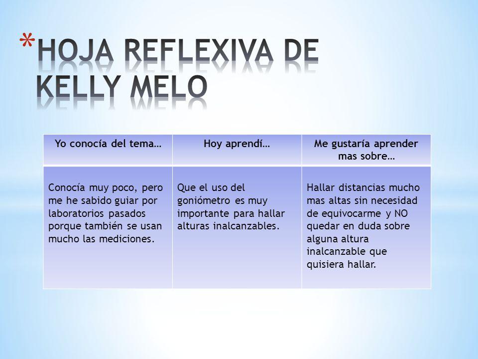 HOJA REFLEXIVA DE KELLY MELO
