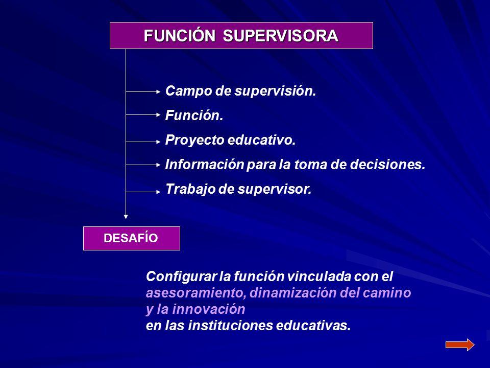 FUNCIÓN SUPERVISORA Campo de supervisión. Función. Proyecto educativo.