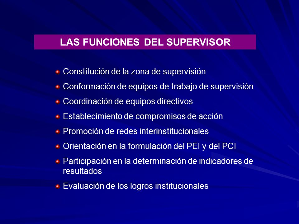 LAS FUNCIONES DEL SUPERVISOR