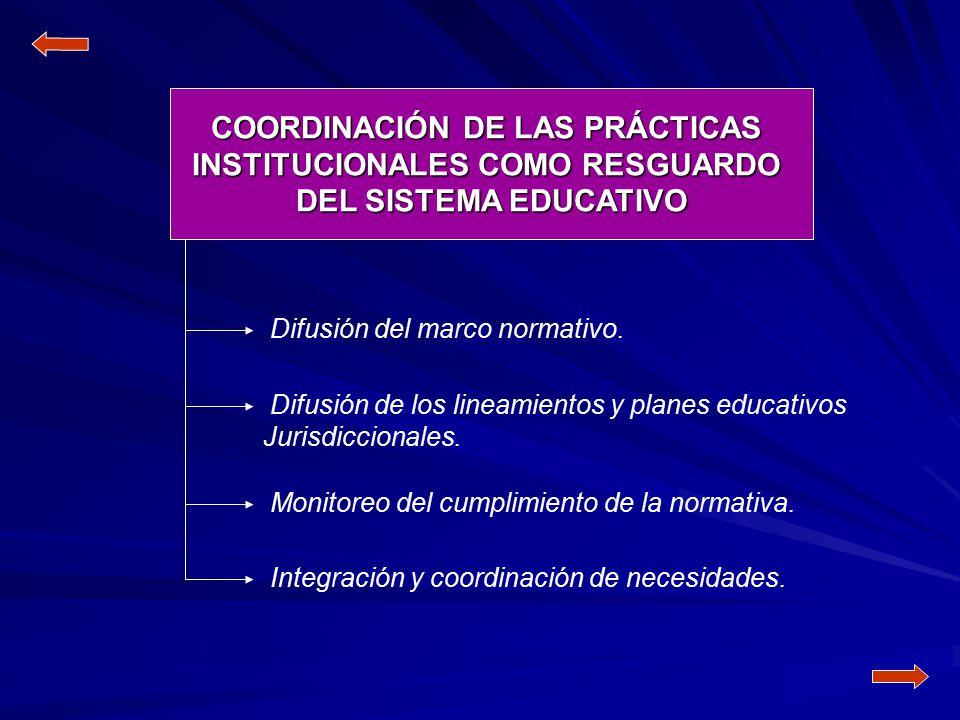 COORDINACIÓN DE LAS PRÁCTICAS INSTITUCIONALES COMO RESGUARDO