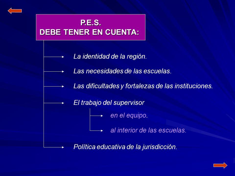 P.E.S. DEBE TENER EN CUENTA:
