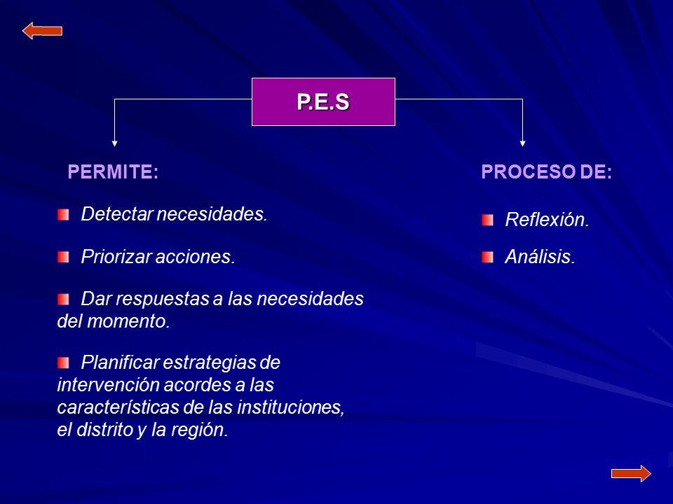 P.E.S PERMITE: PROCESO DE: Detectar necesidades. Reflexión.