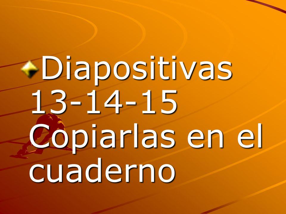 Diapositivas 13-14-15 Copiarlas en el cuaderno