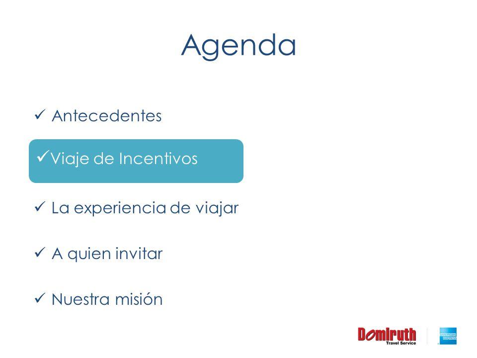 Agenda Viaje de Incentivos Antecedentes Viaje de Incentivos