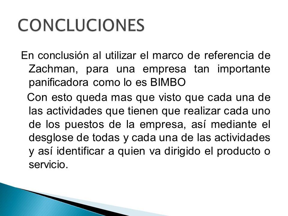 CONCLUCIONES En conclusión al utilizar el marco de referencia de Zachman, para una empresa tan importante panificadora como lo es BIMBO.