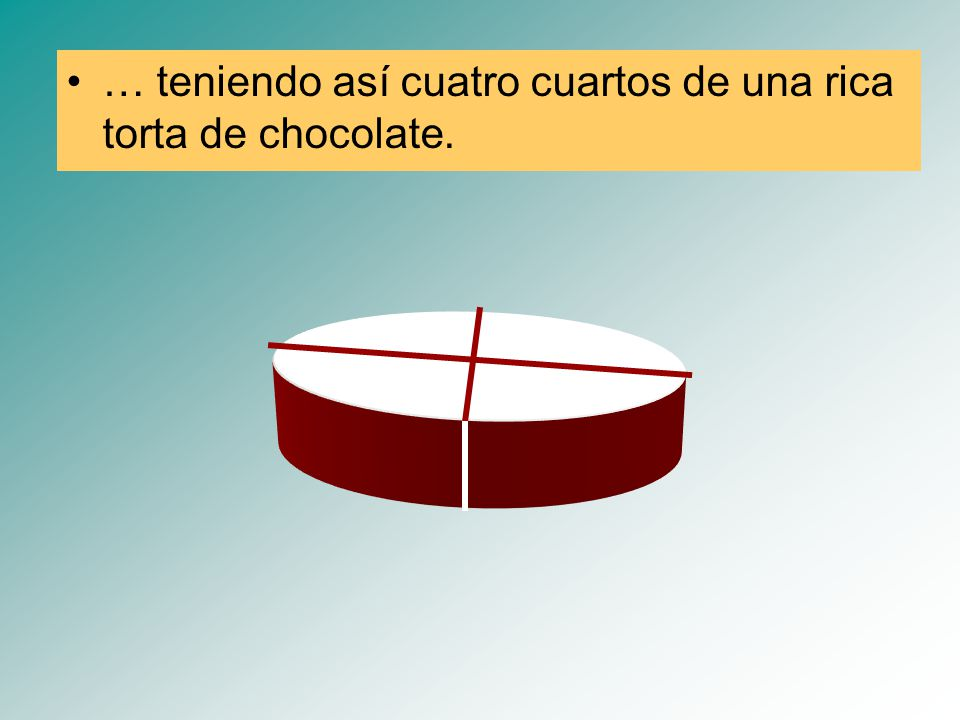 … teniendo así cuatro cuartos de una rica torta de chocolate.