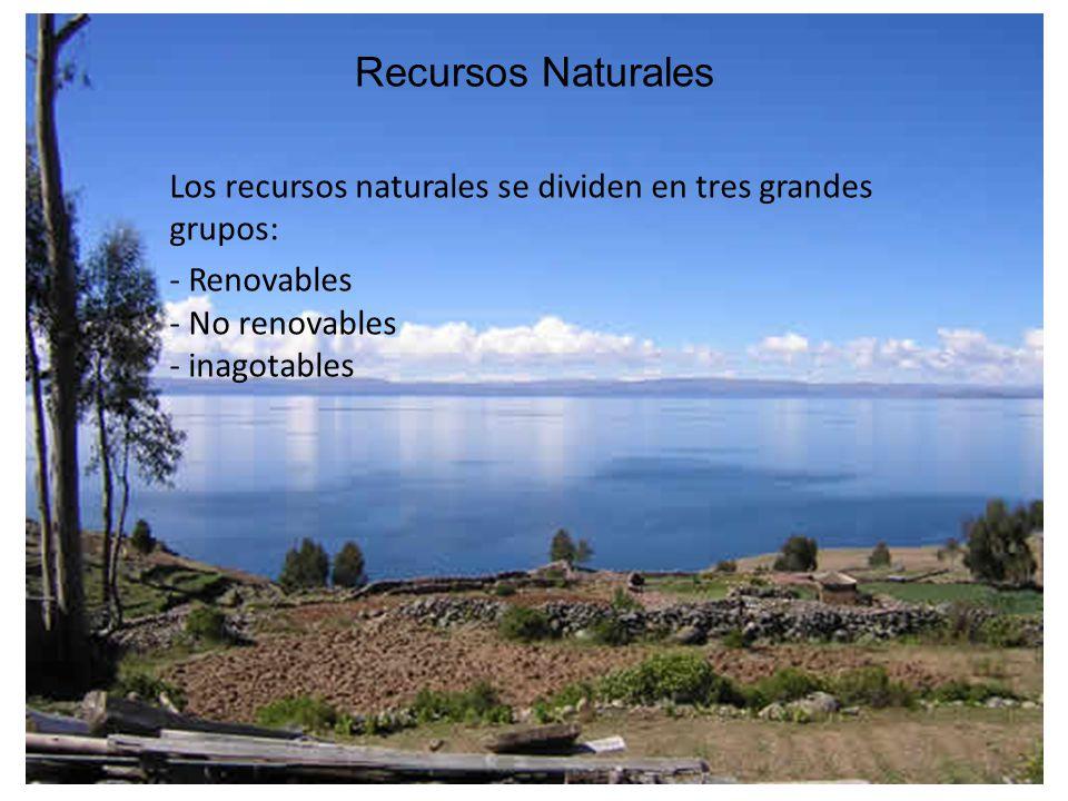Recursos Naturales Los recursos naturales se dividen en tres grandes grupos: - Renovables - No renovables - inagotables.