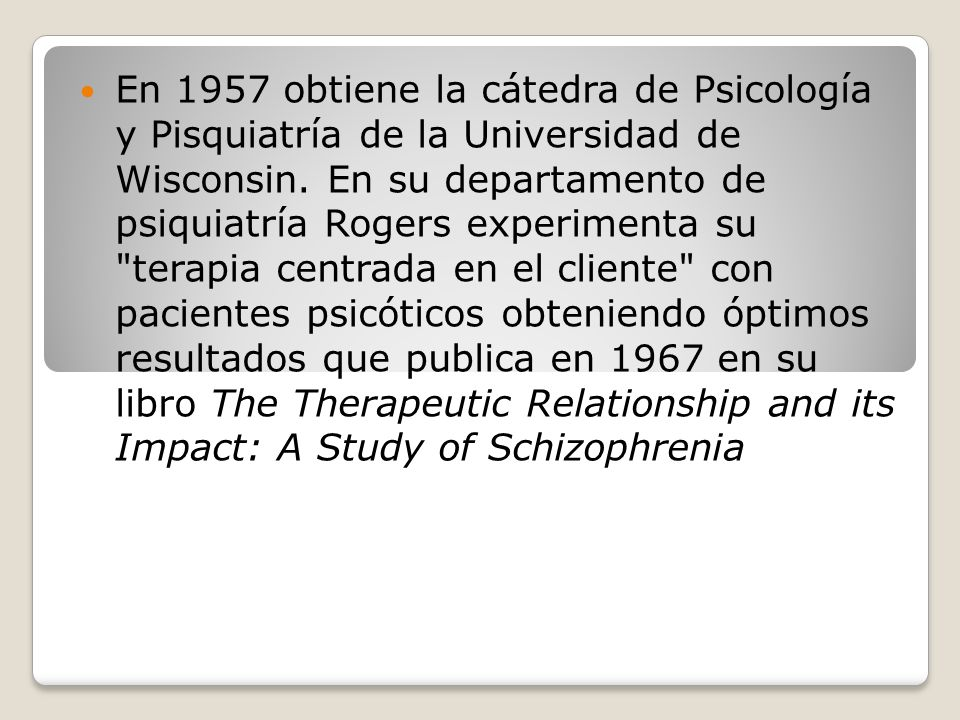 the therapeutic relationship and its impact a study of schizophrenia