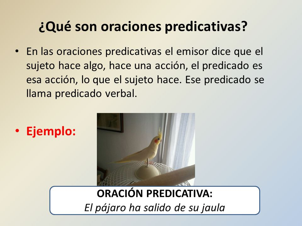 ¿Qué son oraciones predicativas