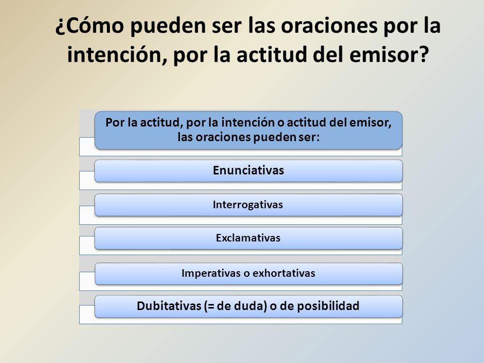 Imperativas o exhortativas Dubitativas (= de duda) o de posibilidad