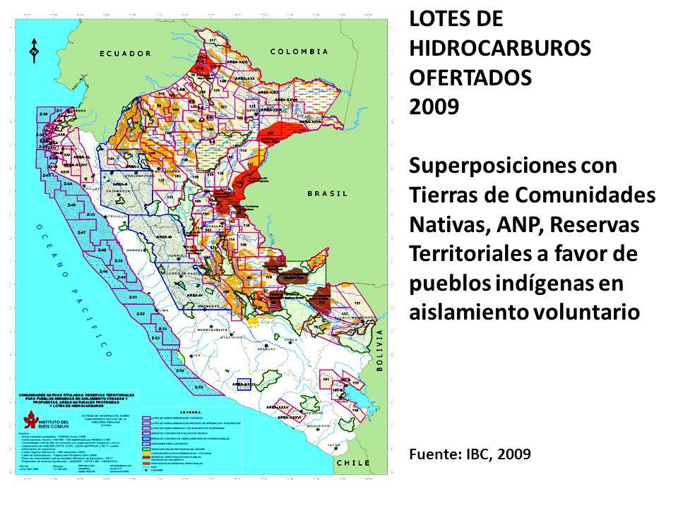 LOTES DE HIDROCARBUROS OFERTADOS 2009