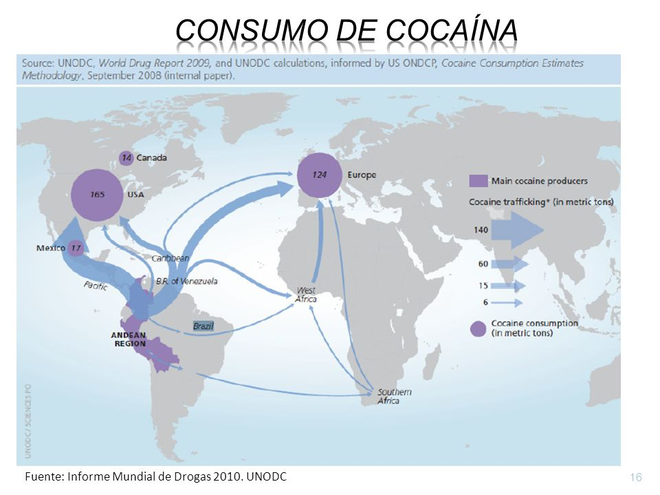 Consumo de cocaína Fuente: Informe Mundial de Drogas 2010. UNODC 16