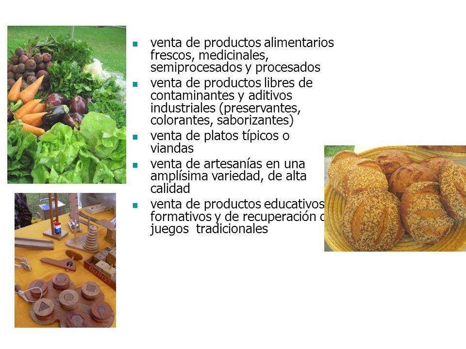 venta de productos alimentarios frescos, medicinales, semiprocesados y procesados