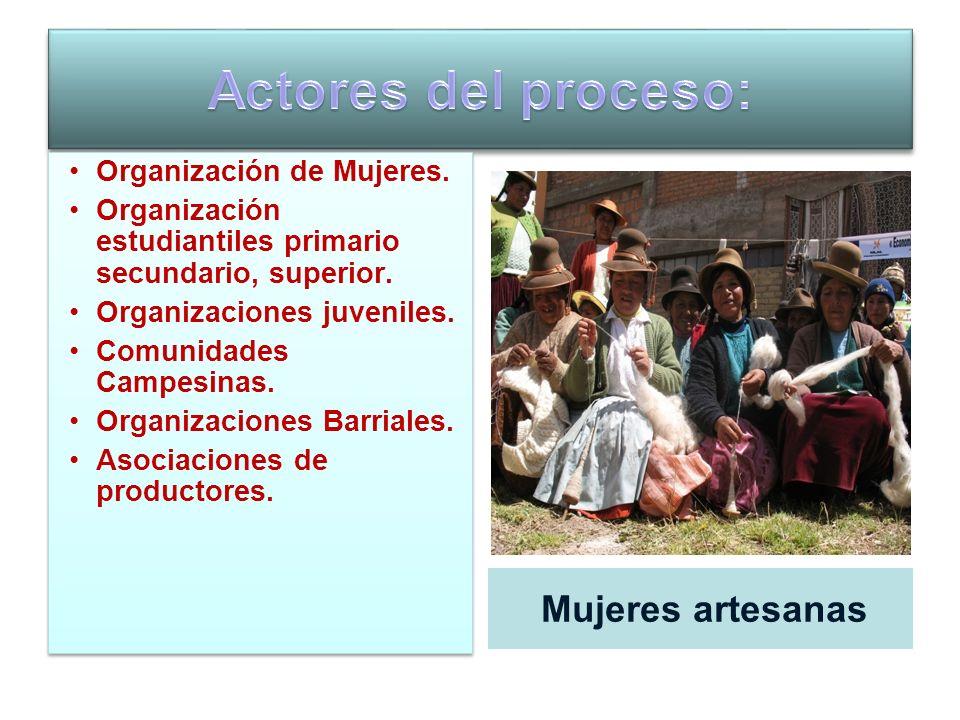 Actores del proceso: Mujeres artesanas Organización de Mujeres.