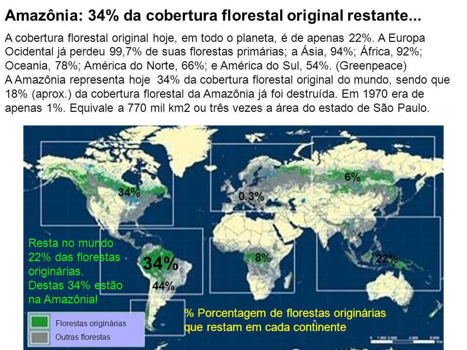 34% Amazônia: 34% da cobertura florestal original restante...