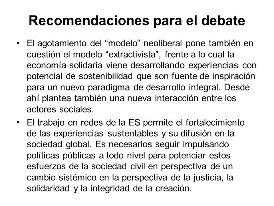 Recomendaciones para el debate