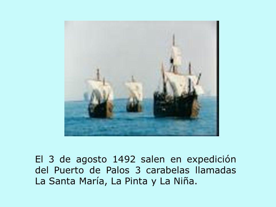 El 3 de agosto 1492 salen en expedición del Puerto de Palos 3 carabelas llamadas La Santa María, La Pinta y La Niña.