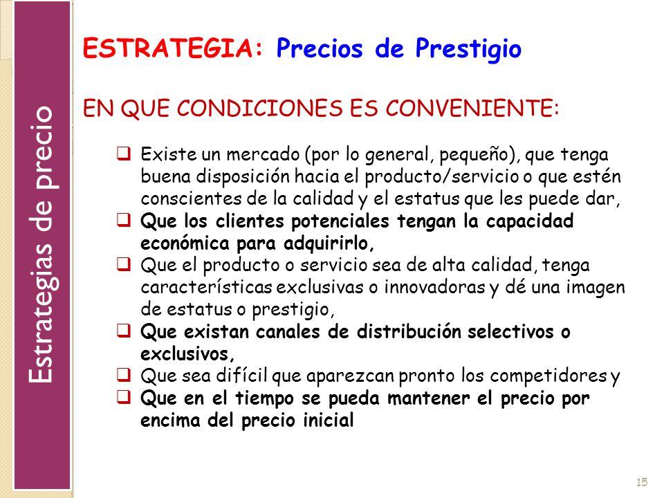 Estrategias de precio ESTRATEGIA: Precios de Prestigio