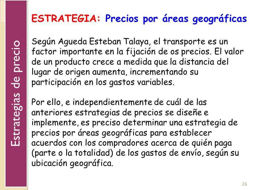 Estrategias de precio ESTRATEGIA: Precios por áreas geográficas